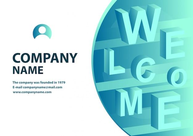 Isometrisches design der fahne mit typografie Premium Vektoren