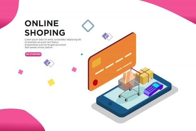 Isometrisches design des online-shops von smartphone Premium Vektoren