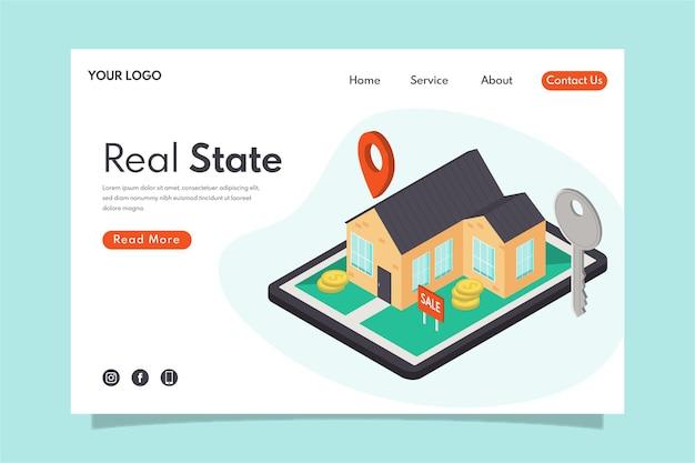 Isometrisches design immobilien landing page Kostenlosen Vektoren