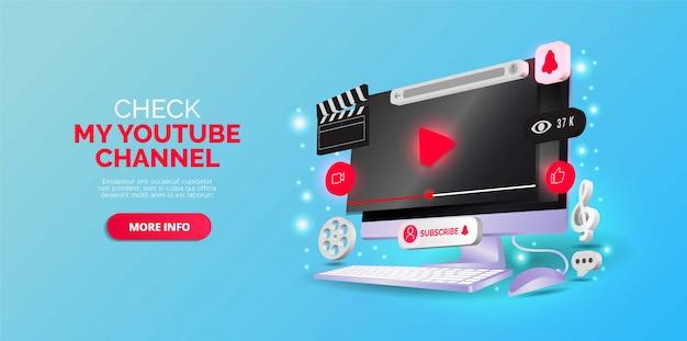 Isometrisches design über youtube-kanal. vektorillustration. Premium Vektoren