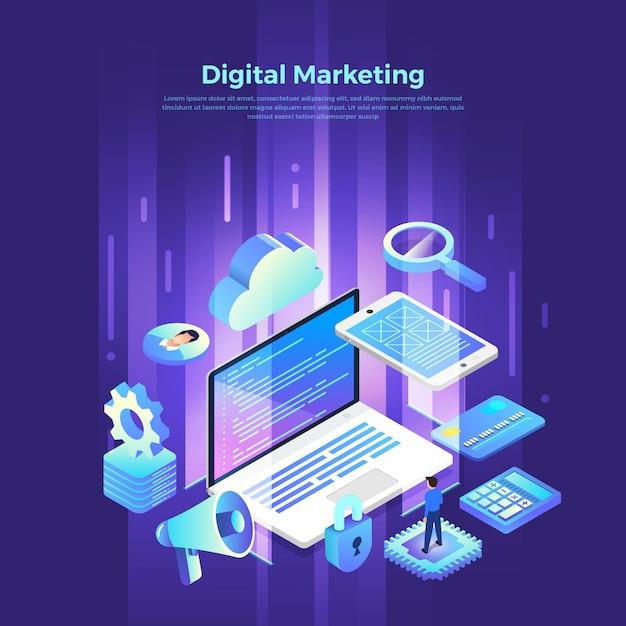 Isometrisches digitales marketing Premium Vektoren
