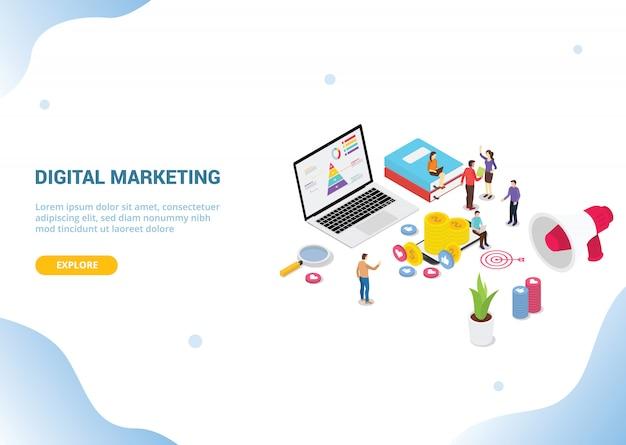 Isometrisches digitales marketingkonzept für websitevorlagenfahnen-landungshomepage Premium Vektoren