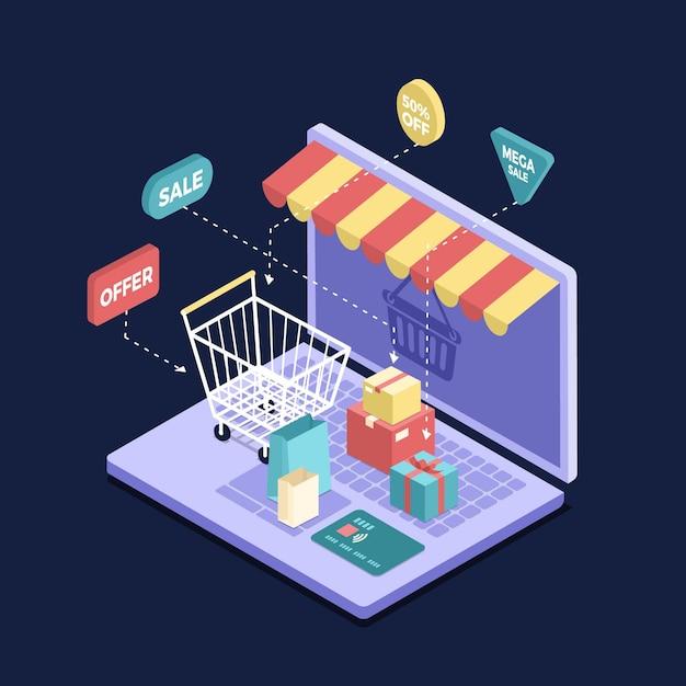 Isometrisches e-commerce-konzept Premium Vektoren