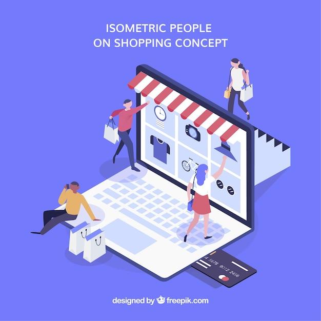 Isometrisches einkaufskonzept mit personen Kostenlosen Vektoren