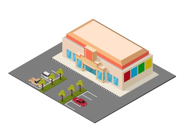 Isometrisches einkaufszentrum des vektors Premium Vektoren