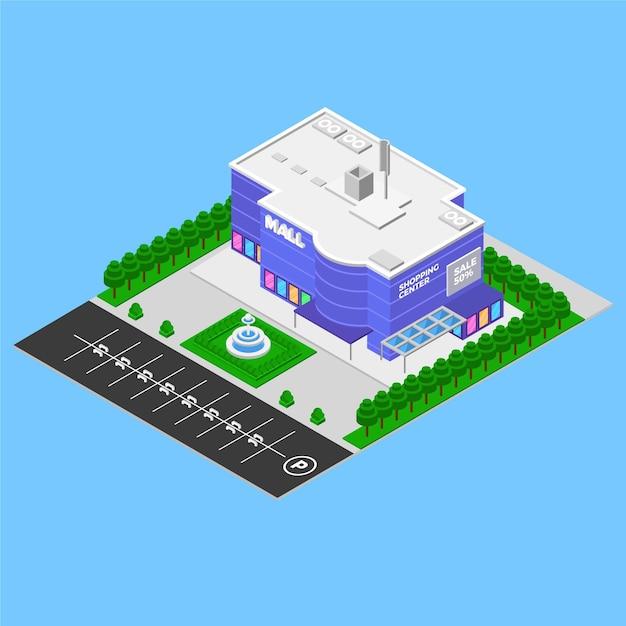 Isometrisches einkaufszentrum-konzept Kostenlosen Vektoren