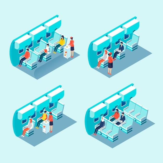 Isometrisches einsteigen in ein flugzeug Kostenlosen Vektoren