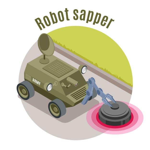 Isometrisches emblem des militärroboters mit roboter-pionier-überschrift und grüner militärischer maschinenillustration Kostenlosen Vektoren