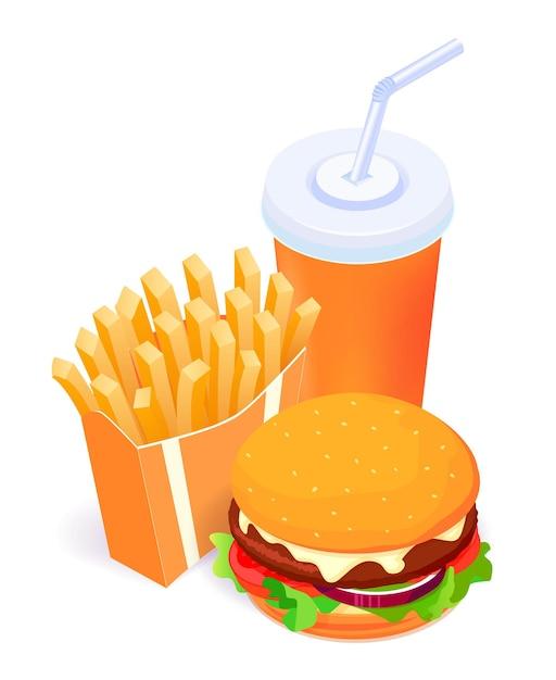 Isometrisches essen - burger, pommes frites und cola lokalisiert auf weißer hintergrundplakatschablone Premium Vektoren