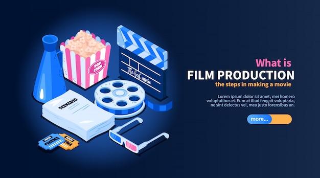 Isometrisches filmkino-flussdiagrammkonzept mit bildern des gelegentlichen kino-bezogenen einzelteiltextes und der schieberknopfillustration Kostenlosen Vektoren