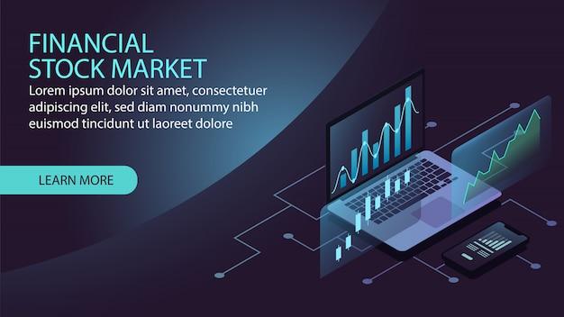 Isometrisches finanzbörsenkonzept Premium Vektoren