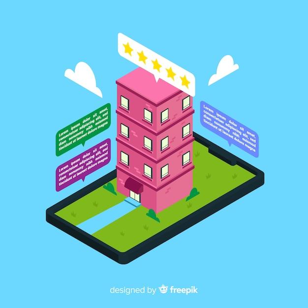 Isometrisches flaches designhotel-buchungskonzept Kostenlosen Vektoren
