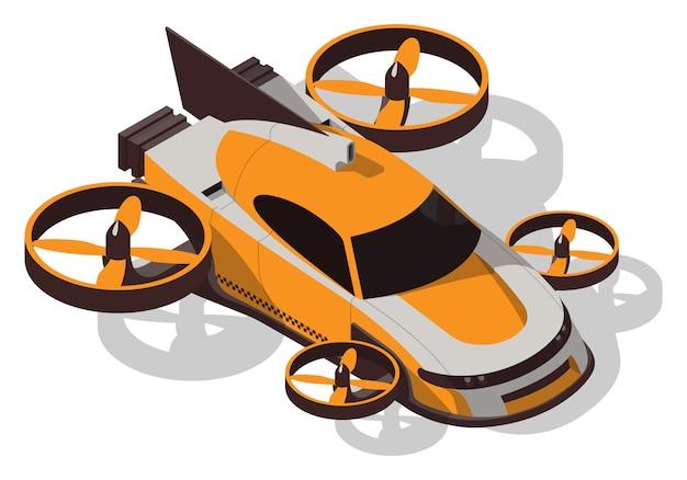 Isometrisches fliegendes taxi. futuristisches konzeptauto isoliert. Premium Vektoren