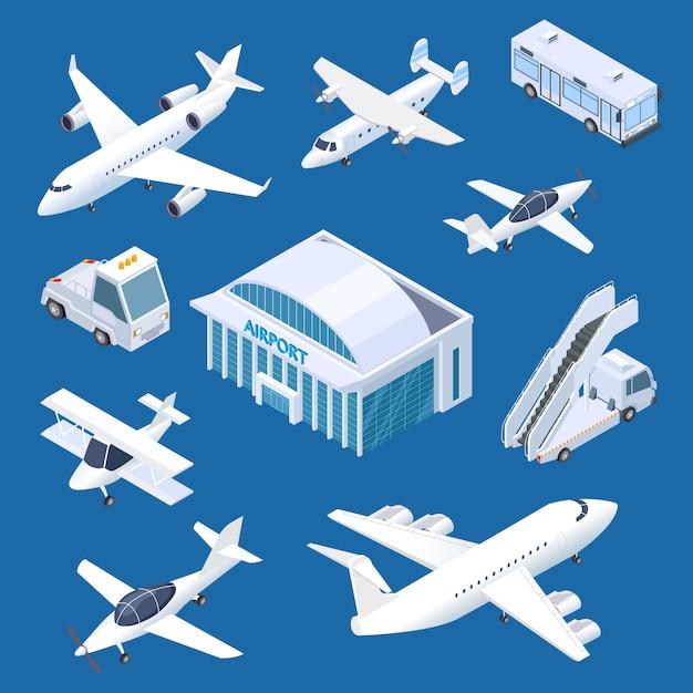 Isometrisches flughafengebäude, flugzeuge und transport am flughafenset Premium Vektoren