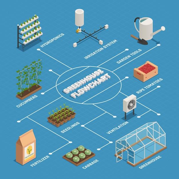 Isometrisches flussdiagramm für die produktion von gewächshausinstallationen Kostenlosen Vektoren