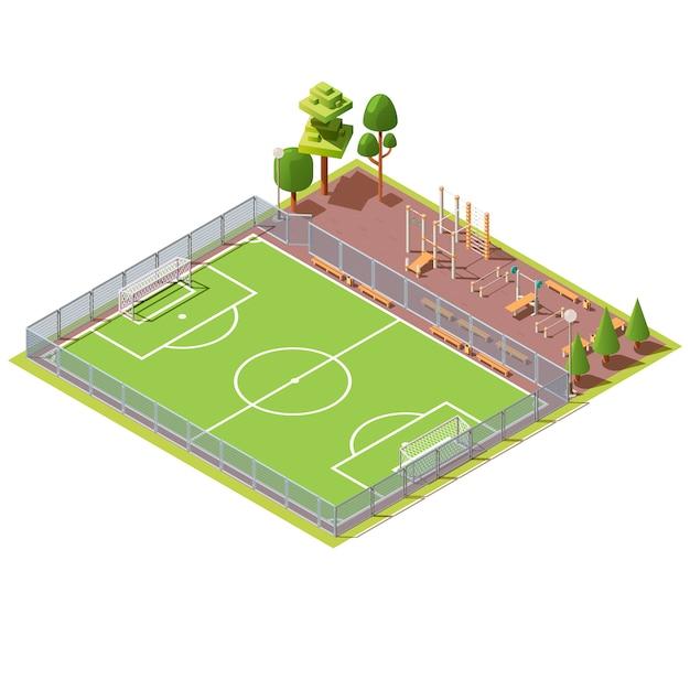 Isometrisches fußballfeld mit trainingsbereich Kostenlosen Vektoren