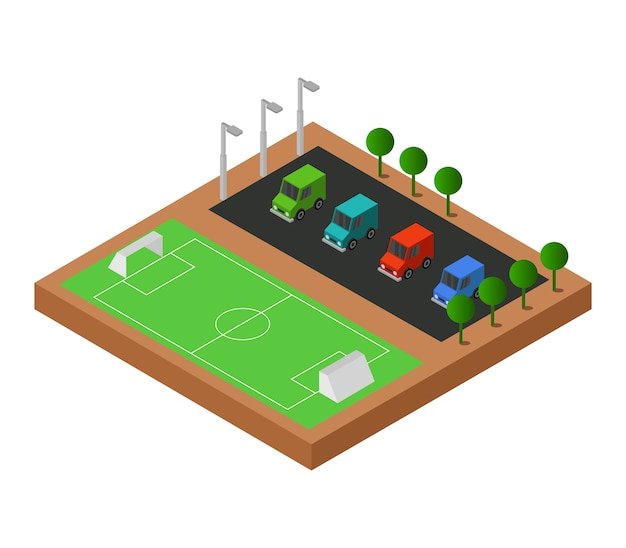 Isometrisches fußballfeld Kostenlosen Vektoren