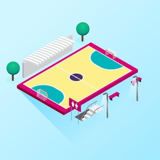Isometrisches futsalfeld Kostenlosen Vektoren