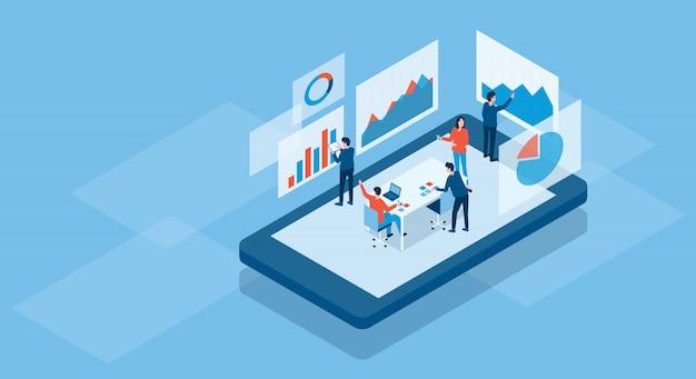 Isometrisches geschäftsteam arbeitet online konzept und business finance investment team analyse diagramm dashboard-konzept Premium Vektoren