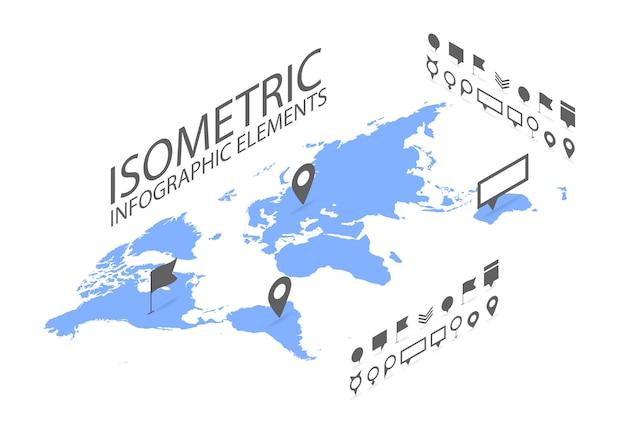 Isometrisches gps-navigationskonzept, weltkarteanwendung und markierungsstiftzeiger Premium Vektoren
