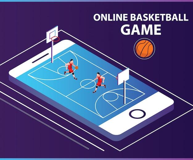 Isometrisches grafikkonzept des online-korb-ball-spiels. Premium Vektoren