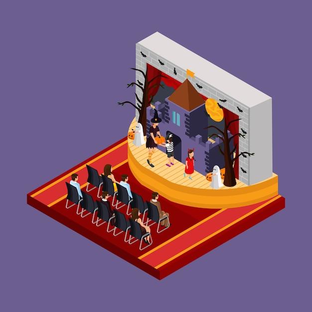Isometrisches halloween-theateraufführungskonzept mit zuschauern und schauspielern fledermaus beängstigenden bäumen heimgesucht schloss auf der bühne isoliert Kostenlosen Vektoren