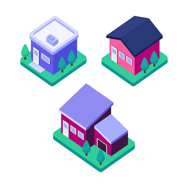 Isometrisches hauptgebäude, modernes zustandhausdesign Premium Vektoren