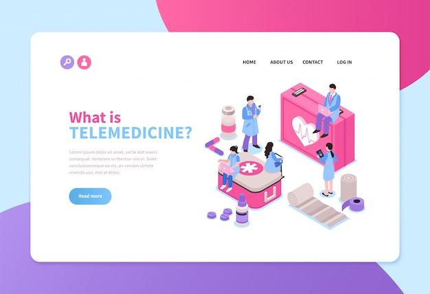 Isometrisches horizontales banner des telemedizin-dienstes mit online-ärzten 3d Kostenlosen Vektoren