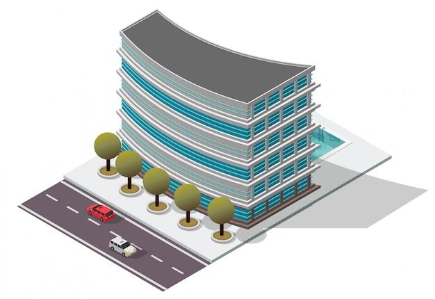 Isometrisches hotel-apartmentgebäude Premium Vektoren