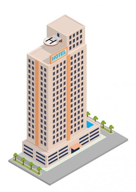 Isometrisches hotel oder wolkenkratzergebäude Premium Vektoren