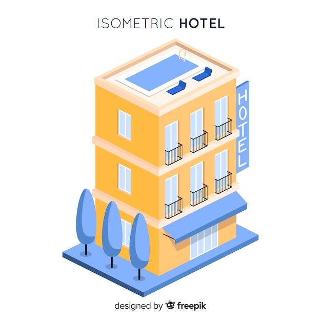 Isometrisches hotelgebäude Kostenlosen Vektoren