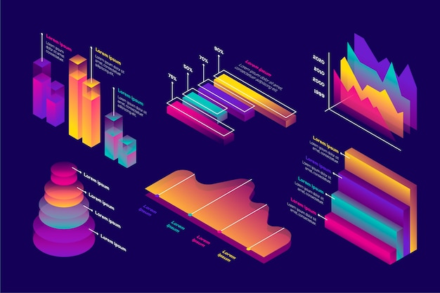 Isometrisches infografik-sammlungskonzept Kostenlosen Vektoren