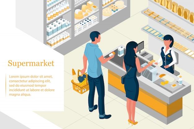 Isometrisches innendesign eines supermarkts. regale mit produkten Premium Vektoren