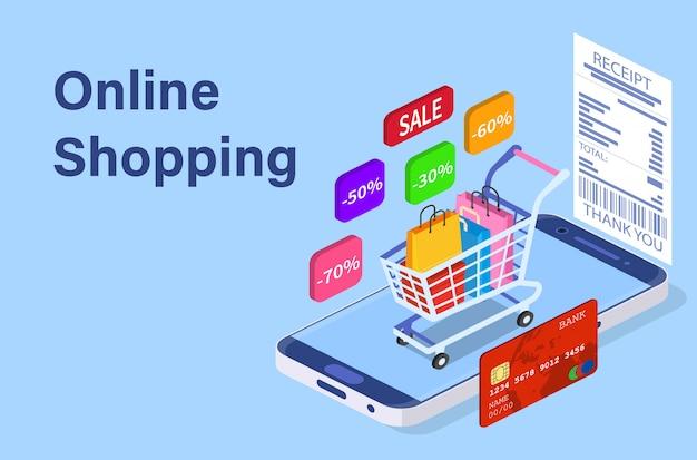 Isometrisches intelligentes telefonon-line-einkaufskonzept. Premium Vektoren