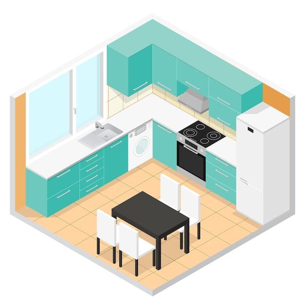 Isometrisches interieur der küche mit möbeln. illustration Premium Vektoren