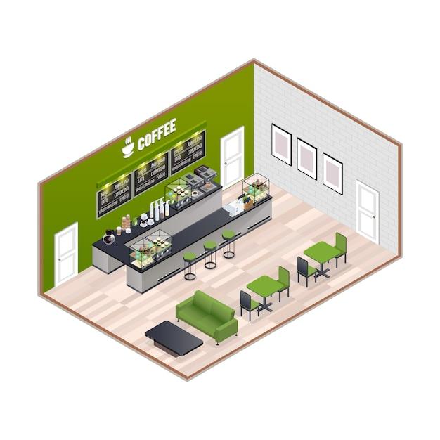Isometrisches interieur des kaffeehauses Kostenlosen Vektoren