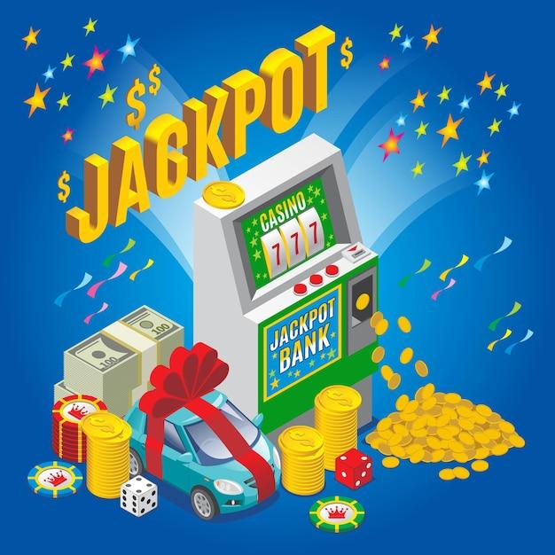 Isometrisches jackpot-konzept mit spielautomaten-chips würfeln geldstapel goldmünzen auto isoliert Kostenlosen Vektoren