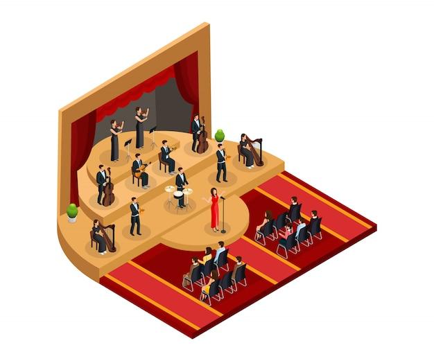 Isometrisches klassisches opernaufführungskonzept mit sängerin und musikern auf der bühne vor publikum isoliert Kostenlosen Vektoren