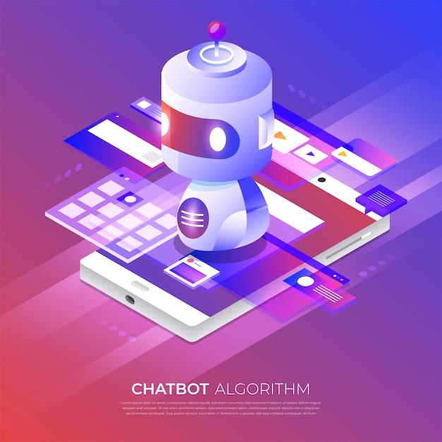 Isometrisches konzept chat bot technologie. maschinelle chat-nachricht der künstlichen intelligenz durch maschinelles lernen. veranschaulichen. Premium Vektoren