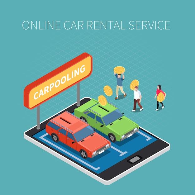 Isometrisches konzept der autovermietung mit online-service-symbolen Kostenlosen Vektoren