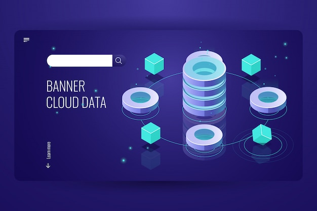 Isometrisches konzept der cloud-computing, dateneinsicht und -analyse, futuristischer gegenstand der informatik Kostenlosen Vektoren