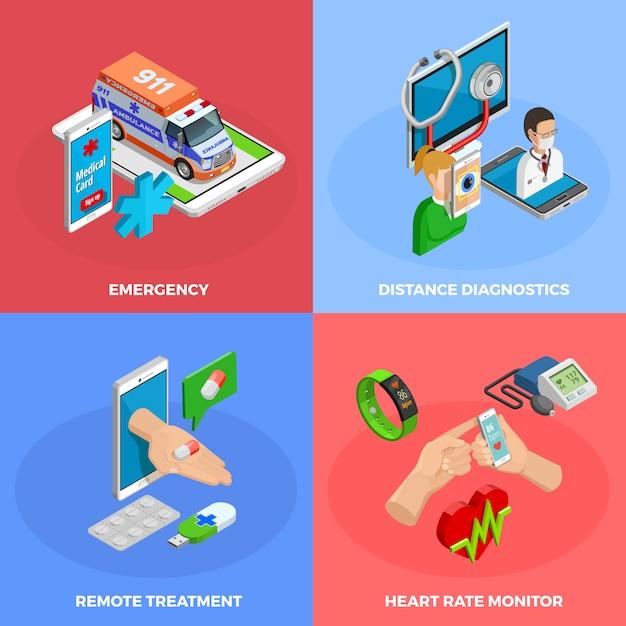 Isometrisches konzept der digitalen gesundheit Kostenlosen Vektoren