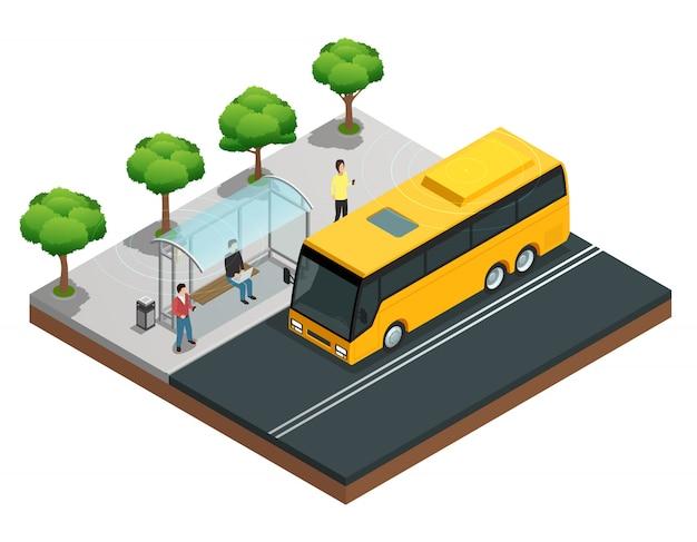 Isometrisches konzept der drahtlosen kommunikation der stadt mit leuten auf einer bushaltestelle Kostenlosen Vektoren
