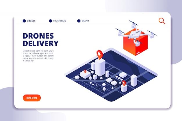 Isometrisches konzept der drohnenlogistik. zukünftige liefertechnologie, versand mit unbemannten drohnen und quadcopter. vektor-landingpage Premium Vektoren