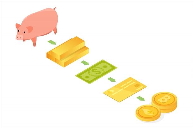 Isometrisches konzept der geldentwicklung. vom tauschhandel zur kryptowährung. illustration Premium Vektoren