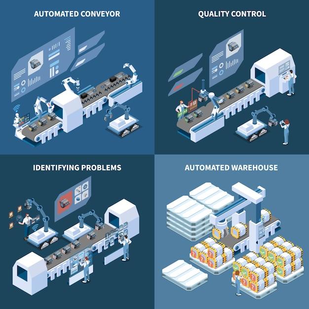 Isometrisches konzept der intelligenten herstellung mit dem automatisierten lager des robotisierten förderers, welches die problemqualitätskontrolle lokalisiert identifiziert Kostenlosen Vektoren