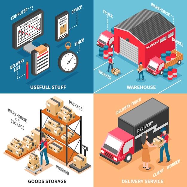 Isometrisches konzept der logistik 2x2 Kostenlosen Vektoren