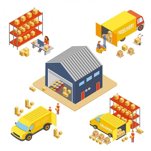 Isometrisches konzept der logistik und lieferung gesetzt mit lagergebäude, arbeiter mit lieferkästen und frachttransport-lkw-vektorillustration Premium Vektoren