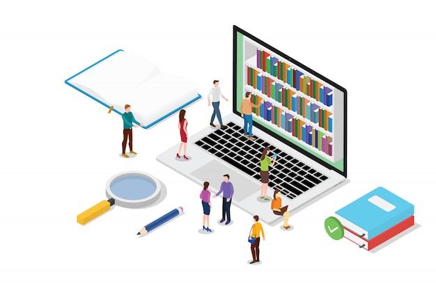 Isometrisches konzept der on-line-lesung 3d mit buch- oder ebooks sammlung Premium Vektoren