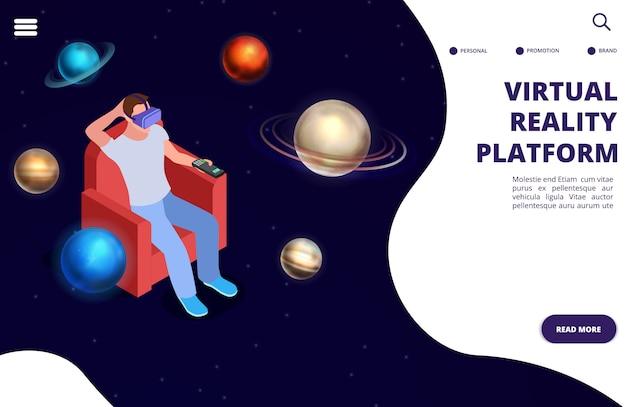 Isometrisches konzept der raumfahrt der virtuellen realität. raum augmented reality illustration Premium Vektoren